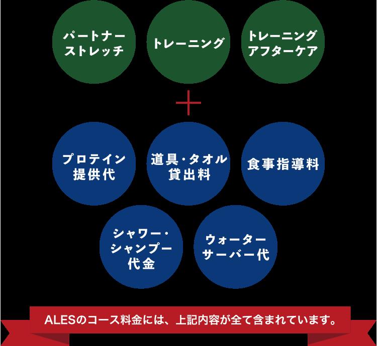 パートナーストレッチ トレーニング トレーニングアフターケア + プロテイン提供代 道具・タオル貸出料 食事指導料 シャワー・シャンプー代金 ウォーターサーバー代 ALESのコースは、上記内容が全てコース内に含まれています。